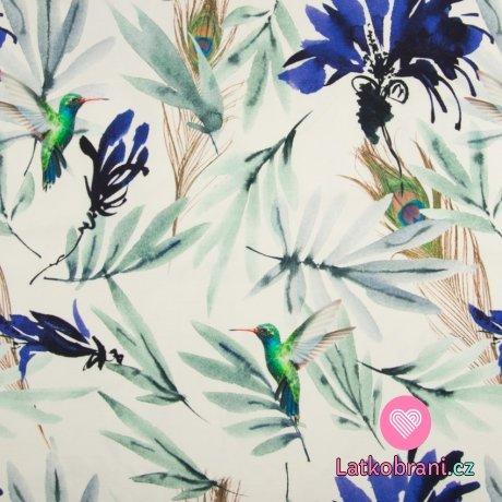 Úplet potisk modré květy a kolibříci na bílé