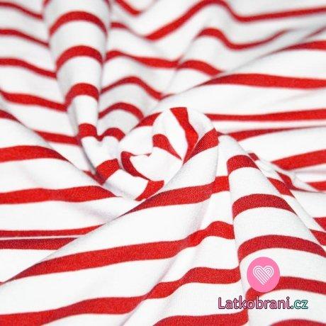 Viskózový úplet proužky červená - bílá