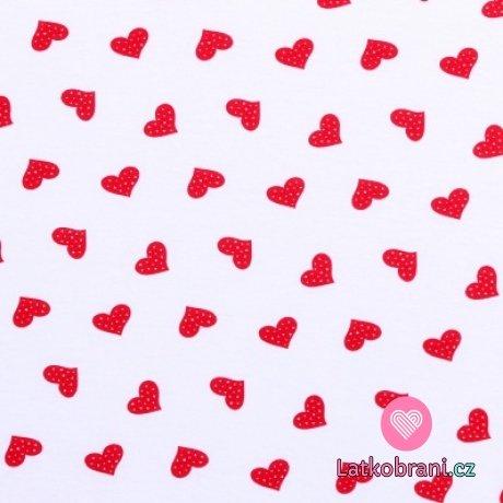 Bavlněný úplet červená puntíkatá srdíčka na bílé
