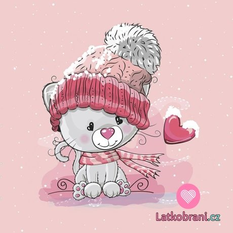 Panel kočka v kulíšku s růžovým lemem na růžové