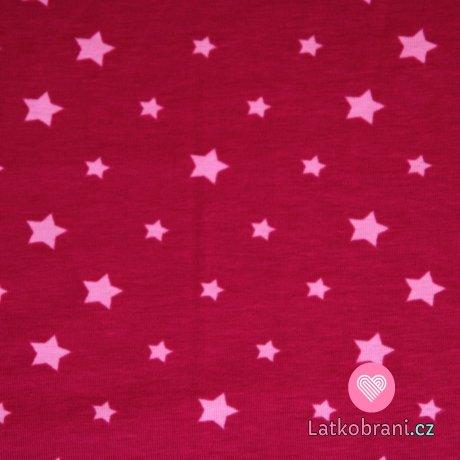 Úplet hvězdy světle růžové na malinové (různě veliké) -ZBYTEK