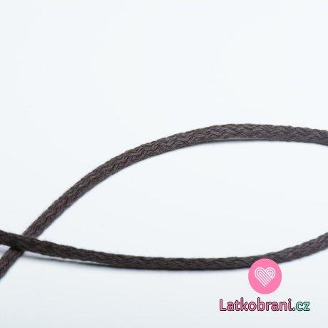 Šňůra kulatá oděvní bavlna 4 mm hnědá