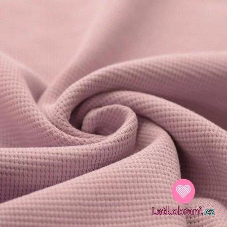 Bavlna s vaflovou vazbou jednobarevná starorůžová