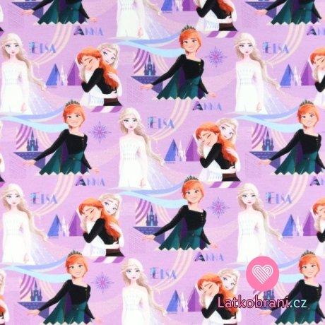 Teplákovina potisk Ledové království - Elsa a Anna na světle fialové