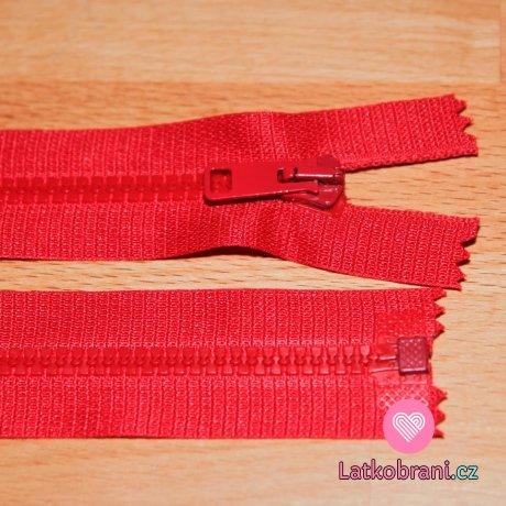 Zip kostěný dělitelný 60cm červená