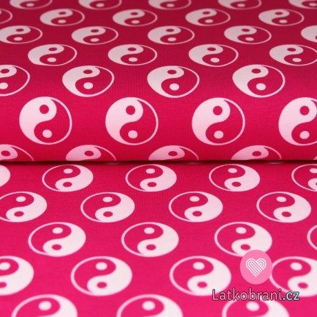Úplet Jin a jang na růžové s nádechem do neonové