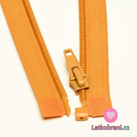 Zip spirálový dělitelný hořčicový 50cm
