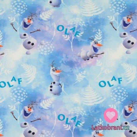 Úplet potisk Olaf s ledovými lístky na modro-fialové