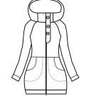 Střih mikina se zipem a kapucí Autima S-XL