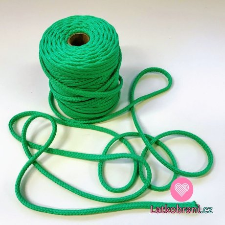 Šňůra kulatá oděvní PES 7 mm pastelově zelená