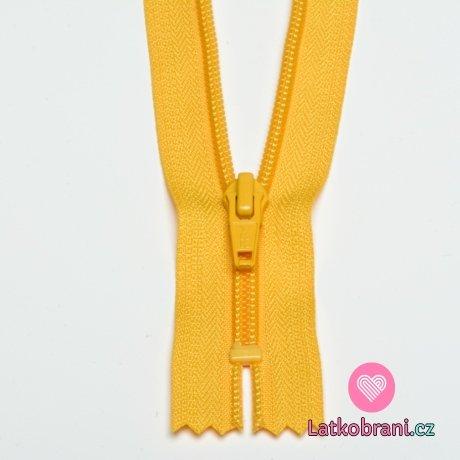 Zip spirálový nedělitelný žlutý tmavší 18 cm