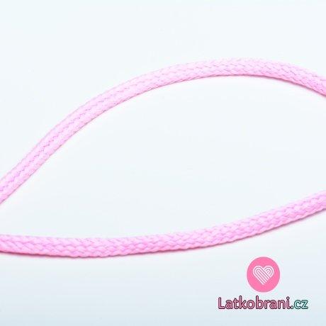 Šňůra oděvní kulatá  PES 4 mm baby růžová
