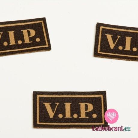 """Štítek na oblečení """"VIP"""", koženkový, imitace tmavé kůže"""