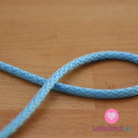 Šňůra kulatá oděvní PES 4 mm modrá pomněnka (světlejší)
