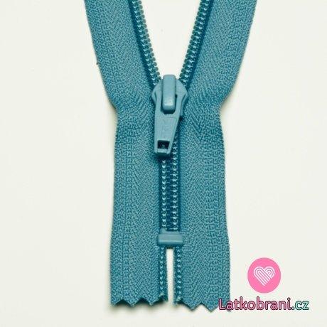 Zip spirálový nedělitelný nebesky modrý 12 cm