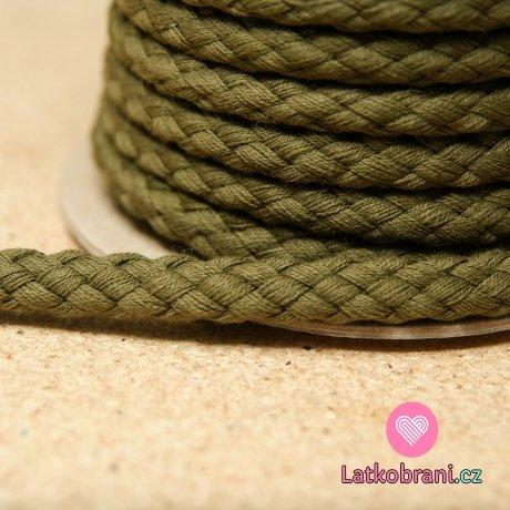 Šňůra kulatá oděvní BAVLNA 9 mm khaki