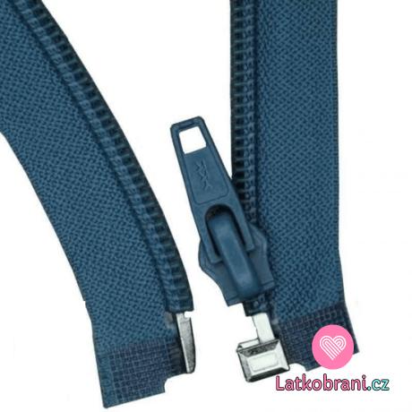 Zip spirálový dělitelný džínsově modrý 35 cm