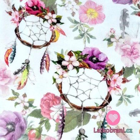 Teplákovina potisk fialkové lapače snů na květinovém podkladu