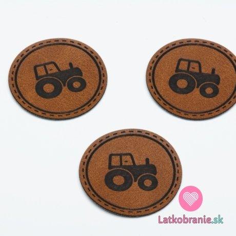 "Štítek na oblečení kulatý ""traktor"", koženkový, hladký povrch"