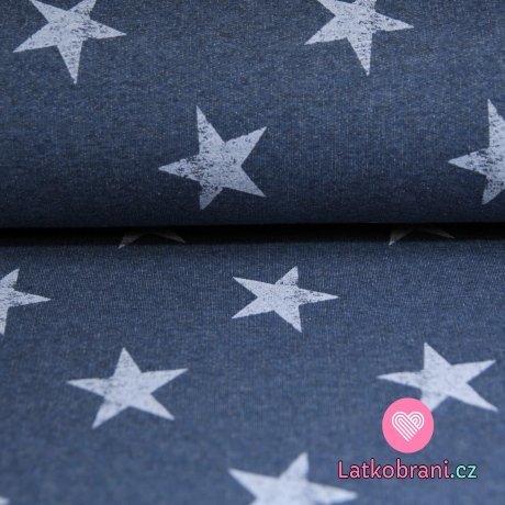 Teplákovina hvězdy patina na jeansově modré