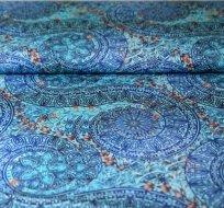 Teplákovina mandaly do spirály modré -ZBYTEK