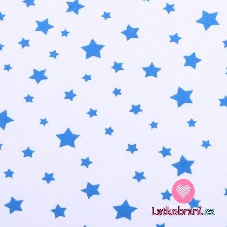 Bavlněný úplet modré hvězdičky na bílé 150g