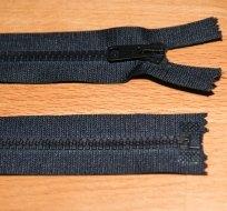Zip kostěný dělitelný 55cm černý