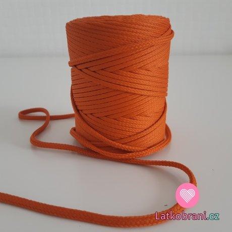 Šňůra oděvní kulatá  PES 4 mm rezavě oranžová