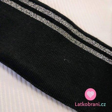 Náplet kusový dva stříbrné proužky na černé 135 cm