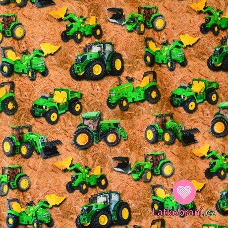 Úplet zelený traktor na poli s obilím