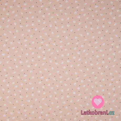 Úplet z organické bavlny potisk droboučká peříčka na zaprášené růžové