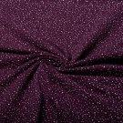 Teplákovina potisk různě velké puntíky na temně fialové