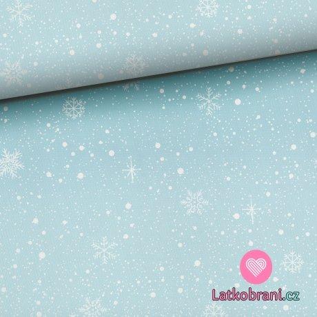 Teplákovina potisk sněhové vločky na nebesky modré