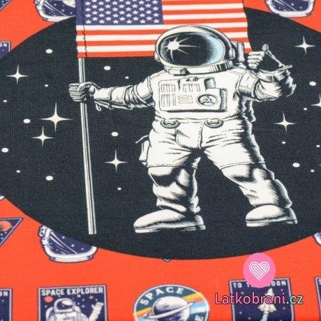 Teplákovina panel potisk kosmonaut 75cm x 150cm