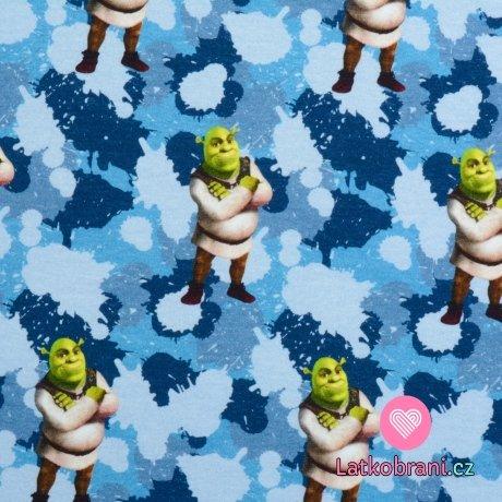 Teplákovina potisk Shrek na modrém maskáči