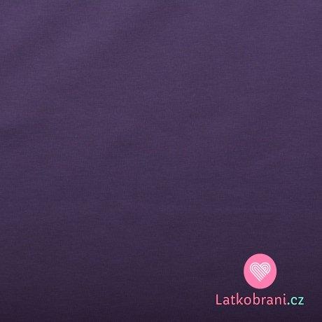 Jednobarevná teplákovina tmavě fialová zaprášená 240 g
