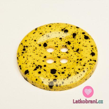 Knoflík mega velký žlutý s černými cákanci