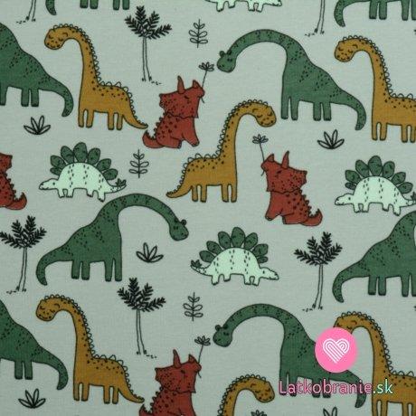 Teplákovina počesaná potisk roztomilí dinosauři na šedé, BIO