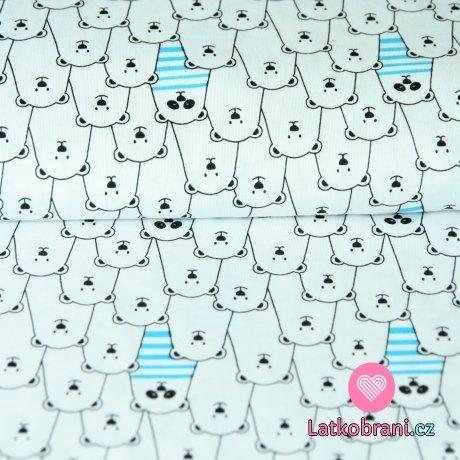 Bavlněný úplet bílý medvědi v řadě s modrým