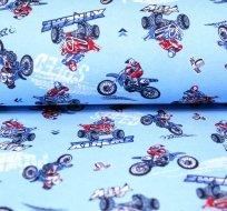 Bavlněný úplet motokros na modré