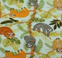 Úplet potisk šťastní lenochodi v džungli na světlince modré