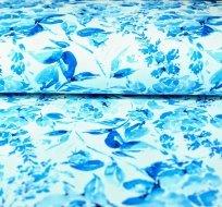 Teplákovina květiny modrý potisk na smetanové