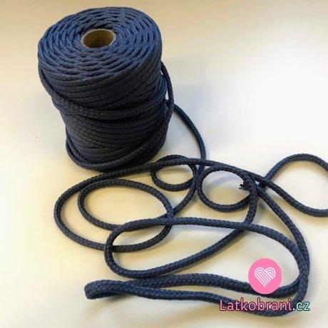 Šňůra kulatá oděvní PES 7 mm šedomodrá
