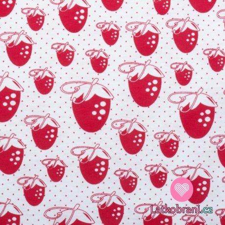 Bavlněný úplet červené jahůdky na bílé