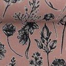 Teplákovina s příměsí modalu potisk černobílá kvítka na růžové