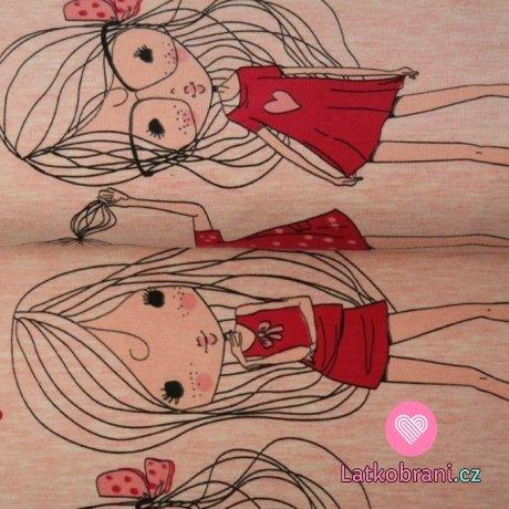 Bordura úplet lady v červených šatičkách na růžové melé