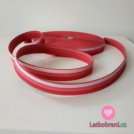Pruženka barevná proužky baby růžová - sv. růžová - malinová 25 mm opasková