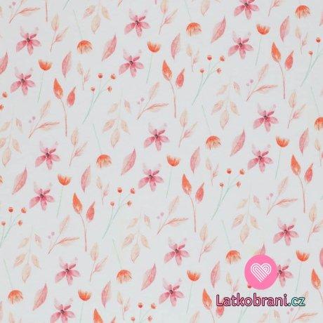 Úplet potisk romantické květiny v růžových odstínech na bílé