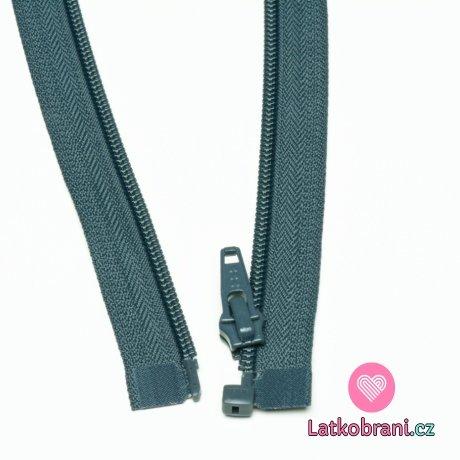 Zip spirálový dělitelný tmavě šedý 45cm