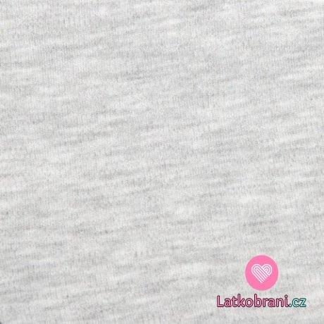 Jednobarevný, oboulícní bavlněný úplet melír šedý